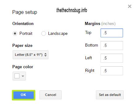 change margins in google docs